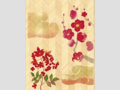 寄木はがき 「梅南天と雲」和紙はり絵 H1002