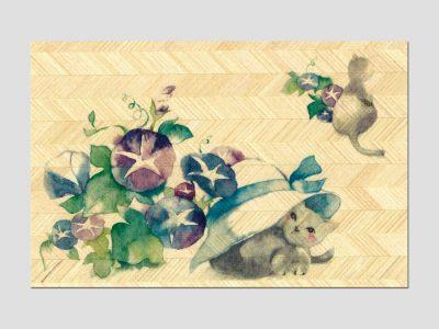 寄木はがき 「ねこと朝顔」水彩画ねこシリーズ H2002