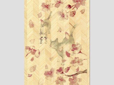 寄木はがき 「ねこと桜」水彩画ねこシリーズ H2003