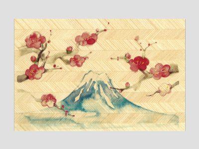 寄木はがき 「富士山と梅」水彩画シリーズ H2201