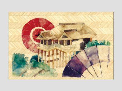 寄木はがき 「清水寺と和傘」水彩画シリーズ H2203