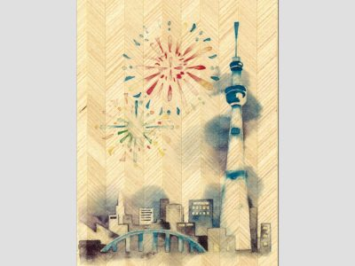 寄木はがき 「隅田川と花火」水彩画シリーズ H2206