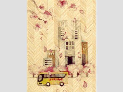 寄木はがき 「都庁と桜」水彩画シリーズ H2207