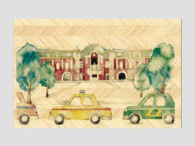 寄木はがき 「東京駅とタクシー」水彩画シリーズ H2008