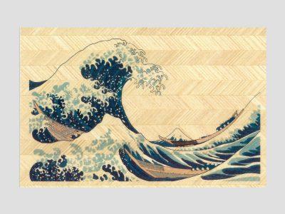 寄木はがき 葛飾北斎「神奈川沖浪裏」 H3002