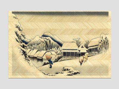 寄木はがき 歌川広重「浦原 夜の雪」 H3004