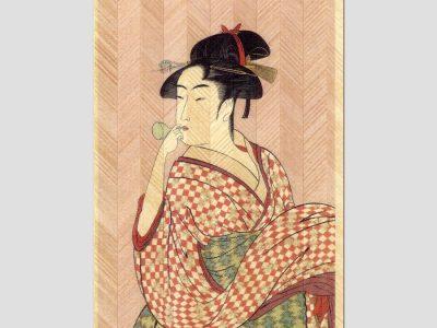 寄木はがき 喜多川歌麿「ビードロを吹く娘」 H3012